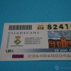 Cupones ONCE: CUPÓN DE LA ONCE:CIUDAD,VILADECANS,(BARCELONA). Lote 43420816