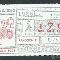 ONCE Coupons - cupon once 3 octubre año 1985 alfa romeo 1931 - 44008463