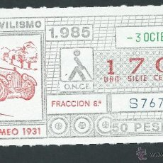 ONCE Coupons - cupon once 3 octubre año 1985 alfa romeo 1931 - 44008473