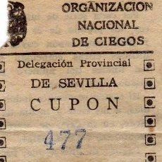 Cupones ONCE: CUPÓN 1944 DELEGACIÓN DE SEVILLA. Lote 44970944