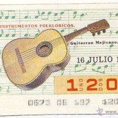 Cupones ONCE: CUPÓN ONCE.- 16 DE JULIO DE 1987.-. Lote 45433607
