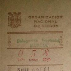 Cupones ONCE: RARO CUPON DE LA ONCE DE MURCIA DE 1949. Lote 46960362