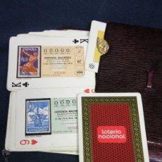 Cupones ONCE: NAIPES CARTAS LOTERIA NACIONAL 11 OCTUBRE 1975 BARAJA POKER FUNDA CUERO BURDEOS 9,5X13,5X2CMS. Lote 47150995