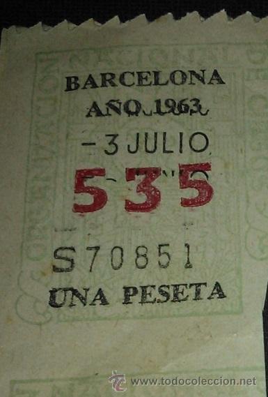CUPON CAPICUA ONCE 535, AÑO 1963 (Coleccionismo - Lotería - Cupones ONCE)