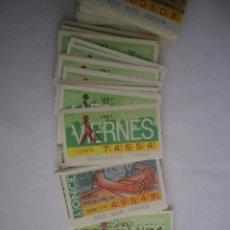 Cupones ONCE: LOTE 50 CUPONES DISTINTOS DEL VIERNES DE 1985 AL 1988. Lote 48608970