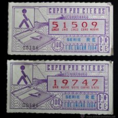 Cupones ONCE: LOTE 2 CUPONES PRO CIEGOS (ONCE). AMBOS SERIE RE, 1 ENERO 1984. Lote 48839516