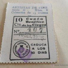 Cupones ONCE: ANTIGUO CUPON ANTERIORES ONCE 1935 FEDERACION HISPANICA DE CIEGOS ARTISTAS DE CINE HELEN TWELVETRESS. Lote 49092535