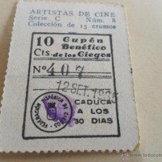 Cupones ONCE: ANTIGUO CUPON ANTERIORES ONCE 1935 FEDERACION HISPANICA DE CIEGOS ARTISTAS DE CINE KAREN MORLEY. Lote 49092581