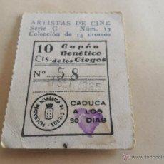 Cupones ONCE: ANTIGUO CUPON ANTERIORES ONCE 1935 FEDERACION HISPANICA DE CIEGOS ARTISTAS DE CINE JAMES DUNN. Lote 49092920