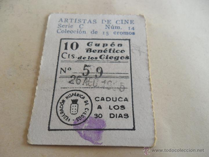 ANTIGUO CUPON ANTERIORES ONCE 1935 FEDERACION HISPANICA DE CIEGOS ARTISTAS DE CINE RUBY KEELER (Coleccionismo - Lotería - Cupones ONCE)