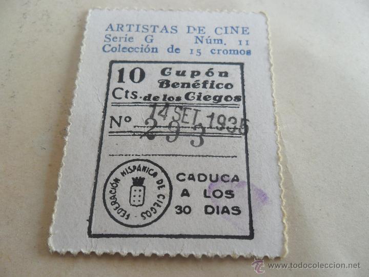 ANTIGUO CUPON ANTERIORES ONCE 1935 FEDERACION HISPANICA DE CIEGOS ARTISTAS DE CINE KEN MAYNARD (Coleccionismo - Lotería - Cupones ONCE)