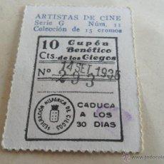 Cupones ONCE: ANTIGUO CUPON ANTERIORES ONCE 1935 FEDERACION HISPANICA DE CIEGOS ARTISTAS DE CINE KEN MAYNARD. Lote 49093026