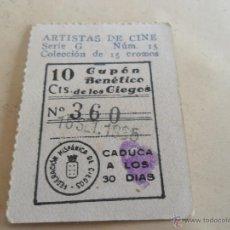 Cupones ONCE: ANTIGUO CUPON ANTERIORES ONCE 1935 FEDERACION HISPANICA DE CIEGOS ARTISTAS DE CINE JACK HOLT. Lote 49093049