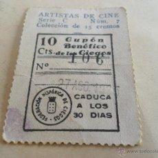 Cupones ONCE: ANTIGUO CUPON ANTERIORES ONCE 1935 FEDERACION HISPANICA DE CIEGOS ARTISTAS DE CINE ROBERT MONGOMERY. Lote 49093063