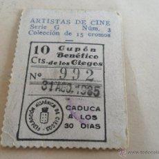 Cupones ONCE: ANTIGUO CUPON ANTERIORES ONCE 1935 FEDERACION HISPANICA DE CIEGOS ARTISTAS DE CINE MARY BOLAND. Lote 49093141