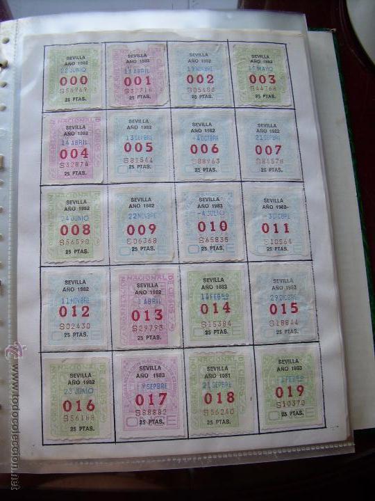 CUPONES DE LA ONCE COLECCION COMPLETA POR NUMEROS DEL 000 AL 999 PEGADOS PARTE SUPERIOR - DIFE. AÑOS (Coleccionismo - Lotería - Cupones ONCE)