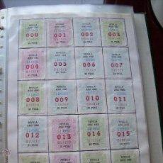 Cupones ONCE: CUPONES DE LA ONCE COLECCION COMPLETA POR NUMEROS DEL 000 AL 999 PEGADOS PARTE SUPERIOR - DIFE. AÑOS. Lote 56824700