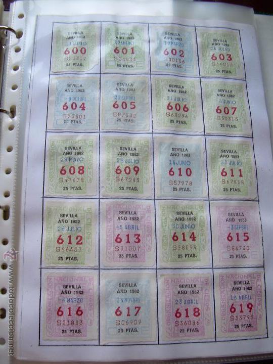 Cupones ONCE: CUPONES DE LA ONCE COLECCION COMPLETA POR NUMEROS DEL 000 AL 999 PEGADOS PARTE SUPERIOR - DIFE. AÑOS - Foto 5 - 56824700