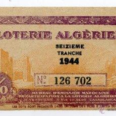 Cupones ONCE: LOTERIA DE ARGELIA DE 1944, LOTERIE ALGERIENNE. Lote 49660276