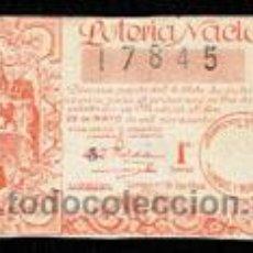 Cupones ONCE: DECIMO DE LOTERIA, SORTEO 15 DEL AÑO 1944. Lote 50038132