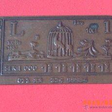 Cupones ONCE: PEQUEÑA CHAPA CUPÓN DE LA ONCE EN COBRE - SERIE 000 Nº 11111 - VER FOTOS -. Lote 50403762