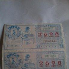 Cupones ONCE: CUPON PRO CIEGOS. ONCE. 20 FEBRERO 1984. Nº 2698. MECANOGRAFÍA.. Lote 50627667