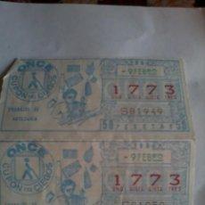 Cupones ONCE: CUPON PRO CIEGOS. ONCE. 2 Nº. 9 DE FEBRERO 1984. Nº 1773. TRABAJO DE ARTESANIA.. Lote 50627672