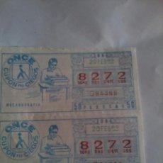 Cupones ONCE: CUPÓN PRO CIEGOS ONCE. 2 Nº. 20 DE FEBRERO Nº 8272. MECANOGRAFÍA.. Lote 50627677