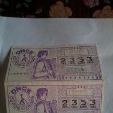 Cupones ONCE: CUPÓN PRO CIEGOS. ONCE. 2 Nº. 10 FEBRERO 1984. Nº 2353. ACORDEONISTA. Lote 50627680