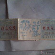 Cupones ONCE: CUPON PRO CIEGOS. ONCE. 9 FEBRERO 1984. Nº8409. TRABAJOS DE ARTESANÍA. . Lote 50627705