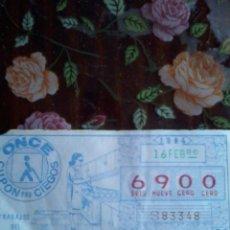 Cupones ONCE: CUPON PRO CIEGOS ONCE. 16 FEBRERO 1984. Nº 6900 . TRABAJOS DE HOGAR. . Lote 50627708