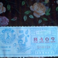 Cupones ONCE: CUPON PRO CIEGOS ONCE 9 DE FEBRERO 1984. Nº 8409. TRABAJOS DE ARTESANÍA.. Lote 50627714