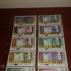Cupones ONCE: COLECCION COMPLETA ONCE SERIE EUROS. Lote 52033852