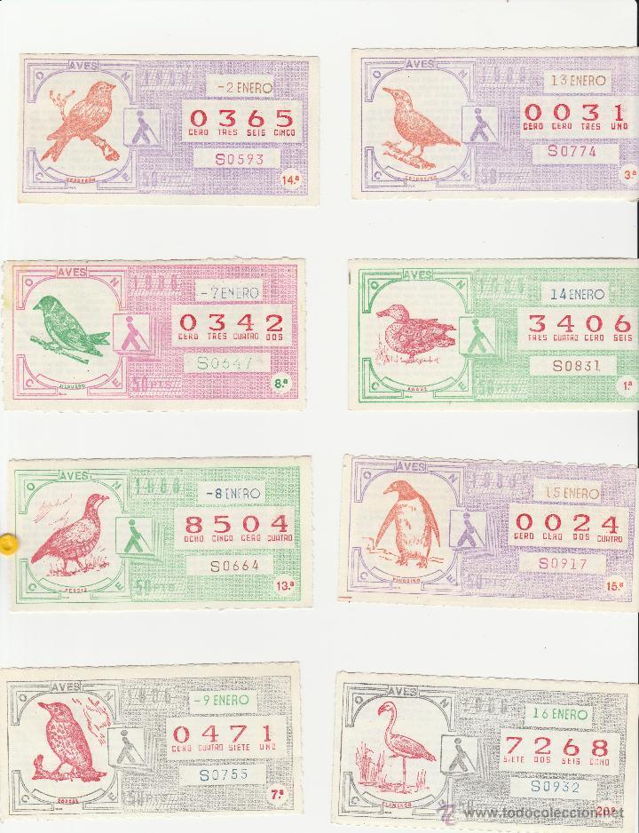 CUPONES DE LA ONCE 1986 SERIE AVES COMPLETA 32 CUPONES (Coleccionismo - Lotería - Cupones ONCE)