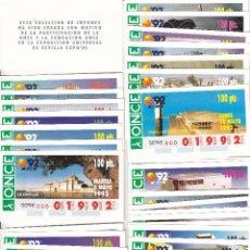 Cupones ONCE: PRECIOSA COLECCION DE 69 CUPONES DE LA ONCE. EXPO'92 SEVILLA. LEER..... Lote 277048283