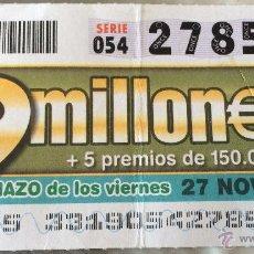 Cupones ONCE: CUPÓN DE LA ONCE. 27 DE NOVIEMBRE DE 2009. CUPONAZO VIERNES.. Lote 52953742