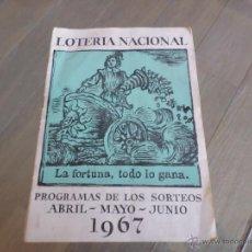 Cupones ONCE: PROGRAMA LOTERIA NACIONAL 1967. Lote 53069521