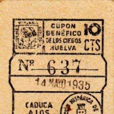 Cupones ONCE: CUPON DE LA SOCIEDAD FEDERACCION HISPANICA DE HUELVA 1935. Lote 53099927