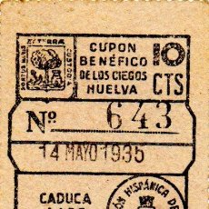 Cupones ONCE: CUPON DE LA SOCIEDAD FEDERACCION HISPANICA DE HUELVA 1935. Lote 53099961