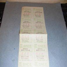 Cupones ONCE: MURCIA 10 FEBRERO 1954 . HOJA CON 10 NUMEROS DE LA O.N.C.E . -27X8,5 CM. . Lote 53656074