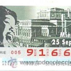 Cupones ONCE: 8-960925. CUPÓN ONCE DE 25-9-96. TEMPLOS DE LA OPERA. ESTOCOLMO. Lote 79812587