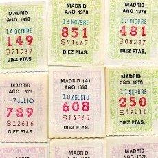Cupones ONCE: 12 CUPONES ANTIGUOS DE LA ONCE AÑO 1978 UNO DE CADA MES. Lote 54134890