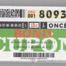 Cupones ONCE: 53 BONOS ONCE, AÑO 2012 COMPLETO ( DESDE 26 DICIEMBRE 2011 HASTA EL 30 DE DICIEMBRE DE 2012 ). Lote 54392377