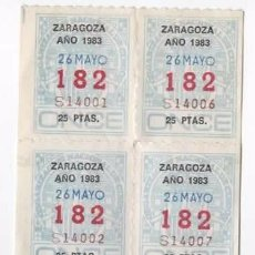 Cupones ONCE: 8 CUPONES ONCE 1983 ( ZARAGOZA ) NÚMERO 182. Lote 54613923