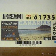 Cupones ONCE: CUPÓN DIARIO ONCE Nº 61735: CANARIAS - PLAYAS DE LANZAROTE, 15 AGOSTO 2012.. Lote 54772853