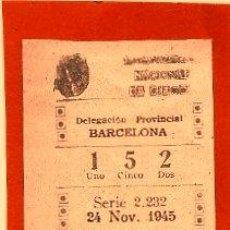 Cupones ONCE: CUPONES ANTIGUOS DE LA ONCE 24 DE NOVIEMBRE DE 1945. Lote 54834227