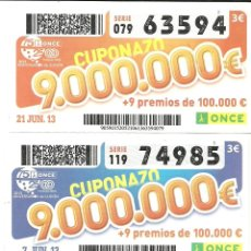 Cupones ONCE: 4 CUPONAZOS DE LA ONCE - JUNIO DE 2013. Lote 56231856