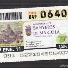 Cupones ONCE: PANORÁMICA DE BANYERES DE MARIOLA (ALICANTE) - 27 DE ENERO DE 2011 - (Nº 06407). Lote 56650430