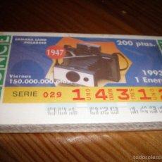 Cupones ONCE: AÑO COMPLETO CUPONES ONCE VIERNES,50 CUPONES APROX.AÑO 1993. Lote 56724599
