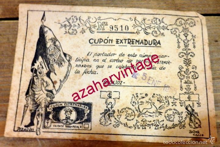 BADAJOZ,1955, CUPON EXTREMADURA,RARISIMO,158X108MM (Coleccionismo - Lotería - Cupones ONCE)